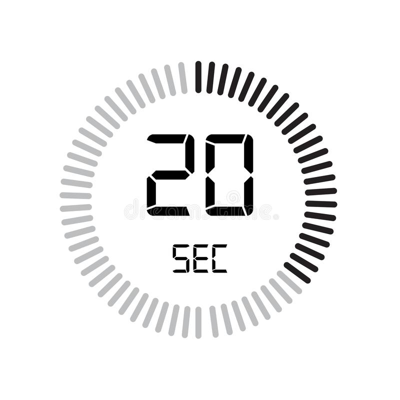 20 sekund ikona, cyfrowy zegar zegar i zegarek, zegar, coun royalty ilustracja
