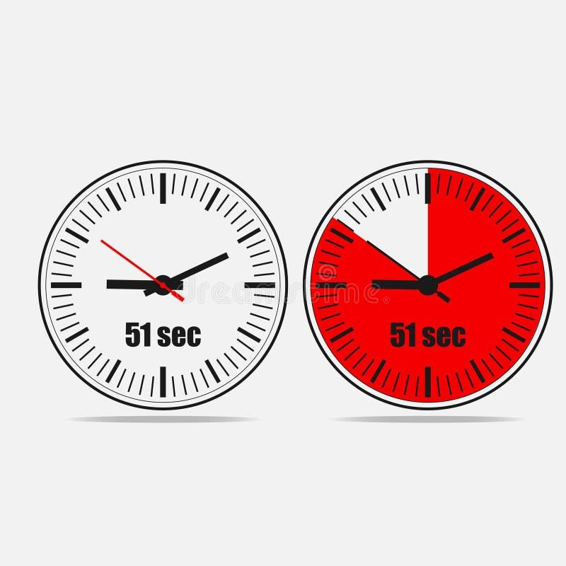51 sekunder klocka på grå bakgrund vektor illustrationer