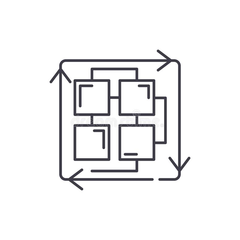 Sekwencja proces linii ikony pojęcie Sekwencja proces wektorowa liniowa ilustracja, symbol, znak ilustracja wektor