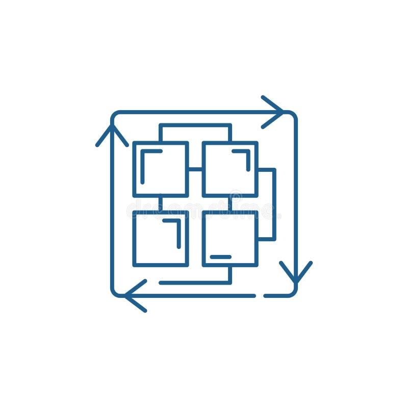 Sekwencja proces linii ikony poj?cie Sekwencja procesu p?aski wektorowy symbol, znak, kontur ilustracja royalty ilustracja
