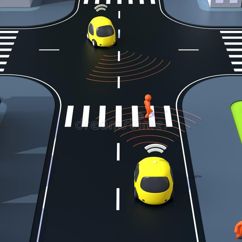 Sel驾驶汽车- 3D例证 皇族释放例证