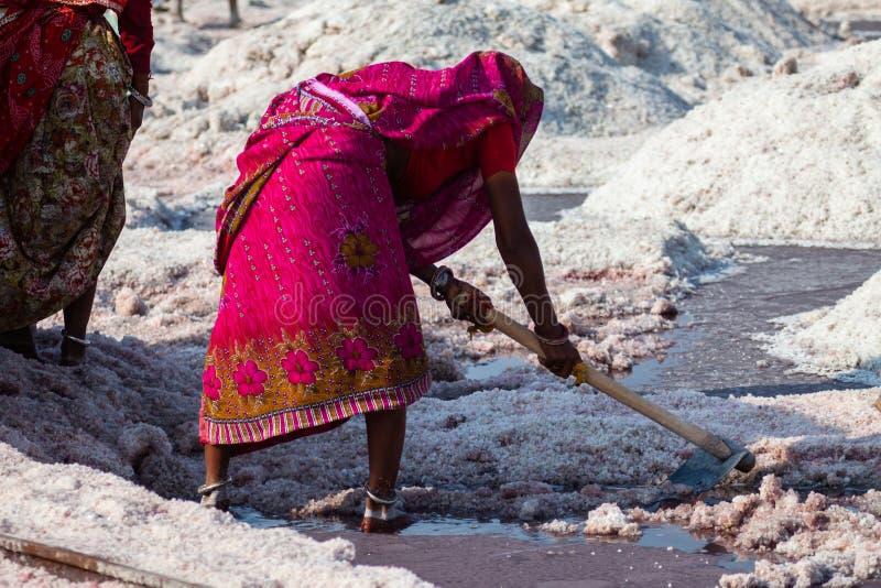Sel de extraction de femme indienne image libre de droits