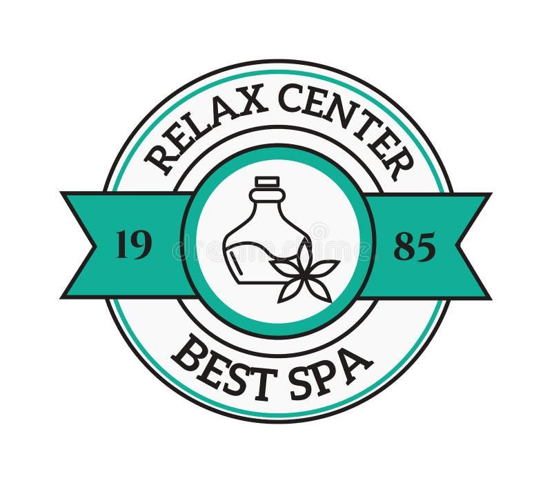 Sel de lavande dans la station thermale de traitement de beauté de bain de cuvette et le vecteur organique de thérapie de bien-êt illustration libre de droits