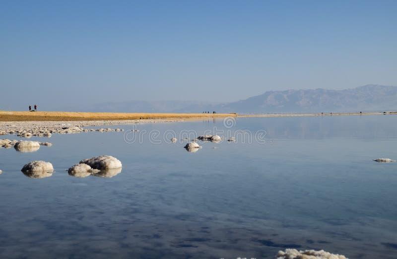 Sel de mer morte sur la plage au lever de soleil photo libre de droits