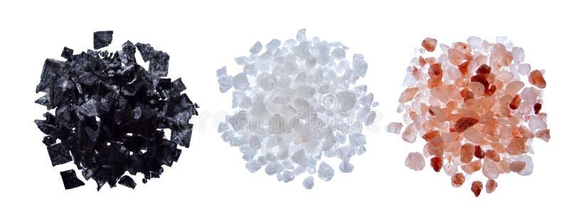 Sel de mer, sel rose de l'Himalaya, photographie stock