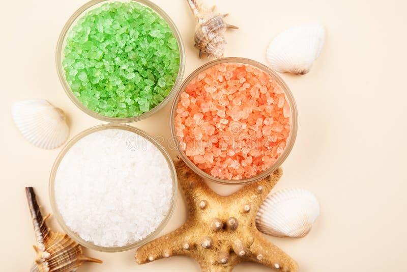 Sel de mer rouge, verte et blanche dans des conteneurs en verre avec des coquillages et des ?toiles de mer image stock