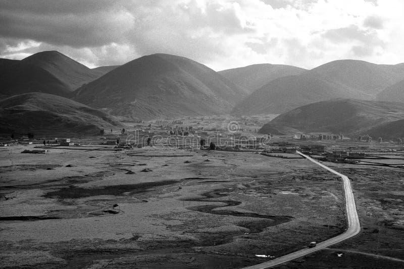 Sela在日落的村庄视图 免版税库存照片