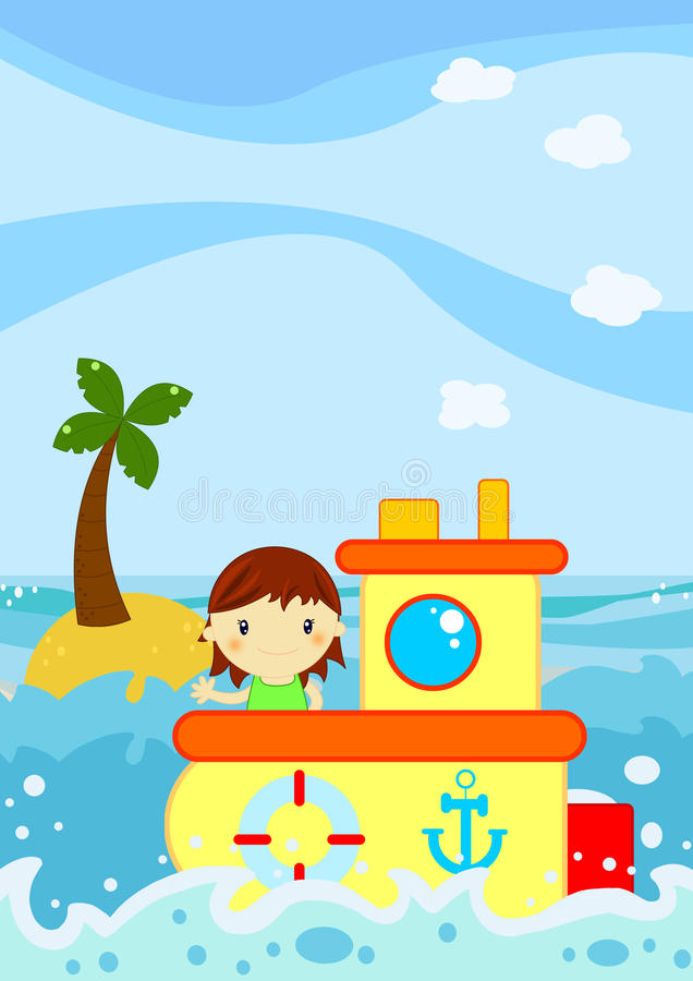 Selagem bonito da menina em um barco