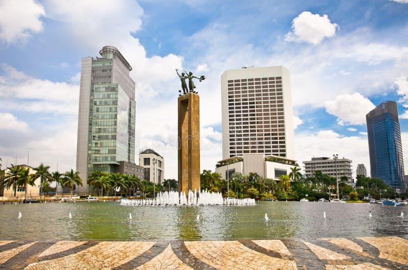 Selamat大唐纪念碑和喷泉,雅加达,印度尼西亚。 免版税库存图片