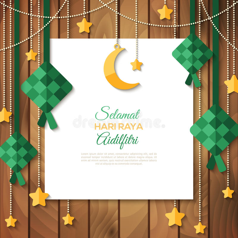 Selamat Hari Raya Greeting Card On Wood Stock Vector - Illustration Of Malay, Hanging 94147053-5067