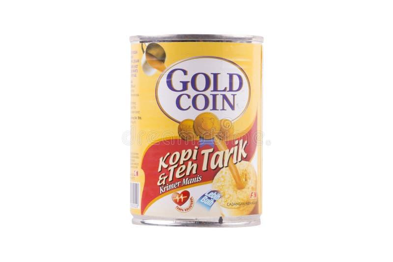 Selangor, Malásia: 12 de fevereiro de 2018 - Crea abrandado da moeda de ouro fotos de stock