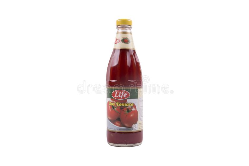 Selangor, Malásia: 12 de fevereiro de 2018 - o molho de tomate da vida é um p fotografia de stock royalty free