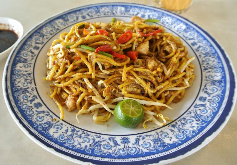 Malaysian style fried noodle or local tongue call mee goreng stock image