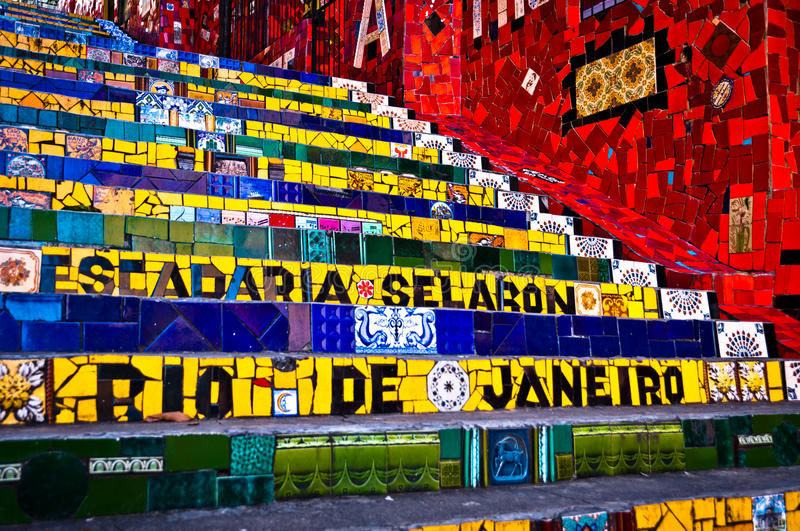 Selaron Stairs in Rio de Janeiro. RIO DE JANEIRO - MAY 15: Stairway Selaron on May 15, 2014 in Rio de Janeiro, Brazil. It's world-famous work of Chilean artist stock photos