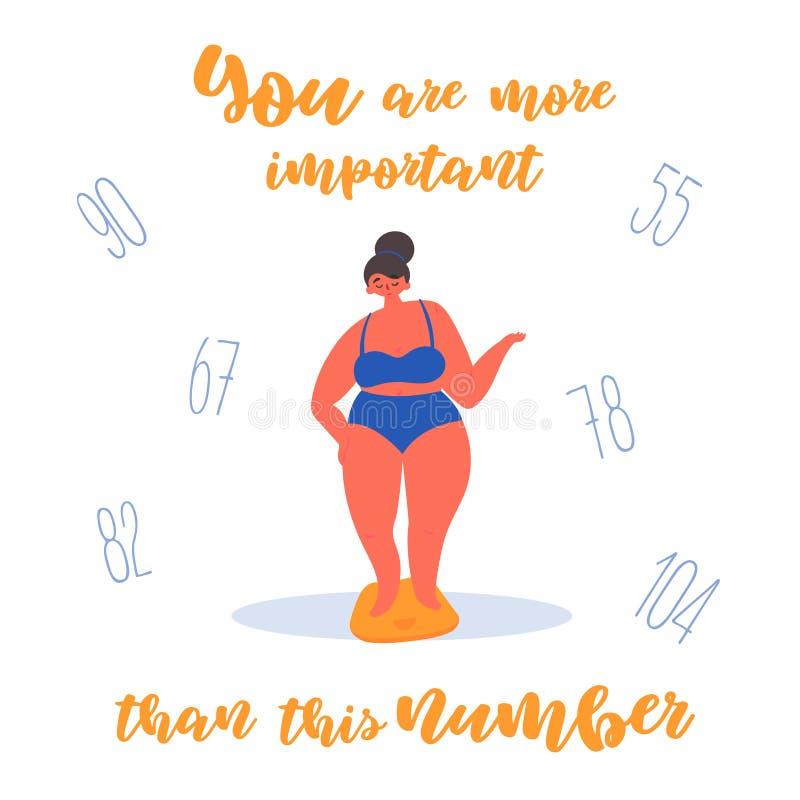 Selbstüberzeugtes Körperpositiv, fettes Mädchen auf Skalen stock abbildung