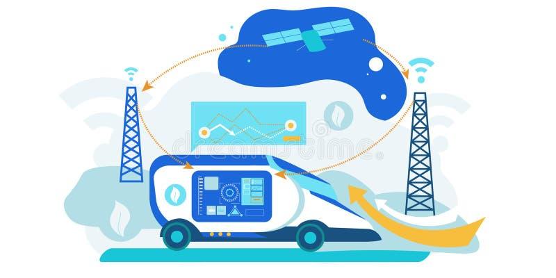Selbst, der Auto fährt Künstliche Intelligenz-Fahrzeug stock abbildung