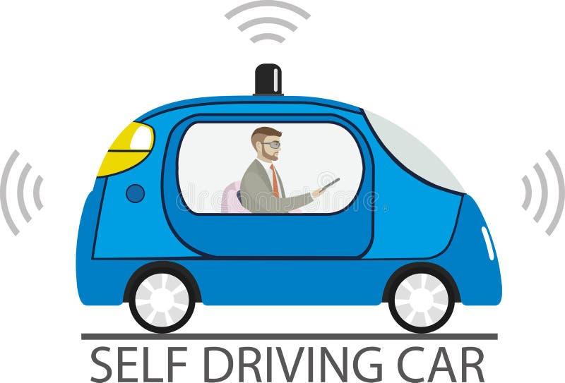 Selbst, der Auto mit männlichem Passagier fährt lizenzfreie abbildung