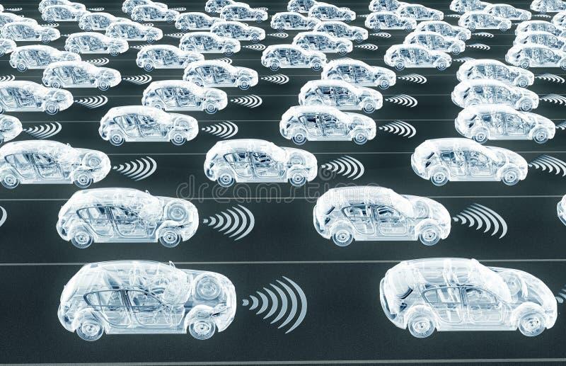 Selbst, der Elektronenrechenanlageautos auf Straße fährt lizenzfreie abbildung