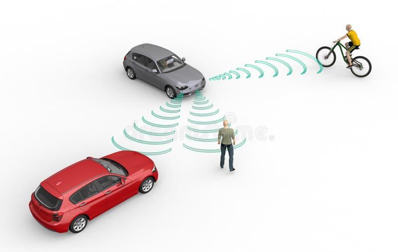 Selbst, der Elektronenrechenanlageautos auf Weiß fährt lizenzfreie abbildung