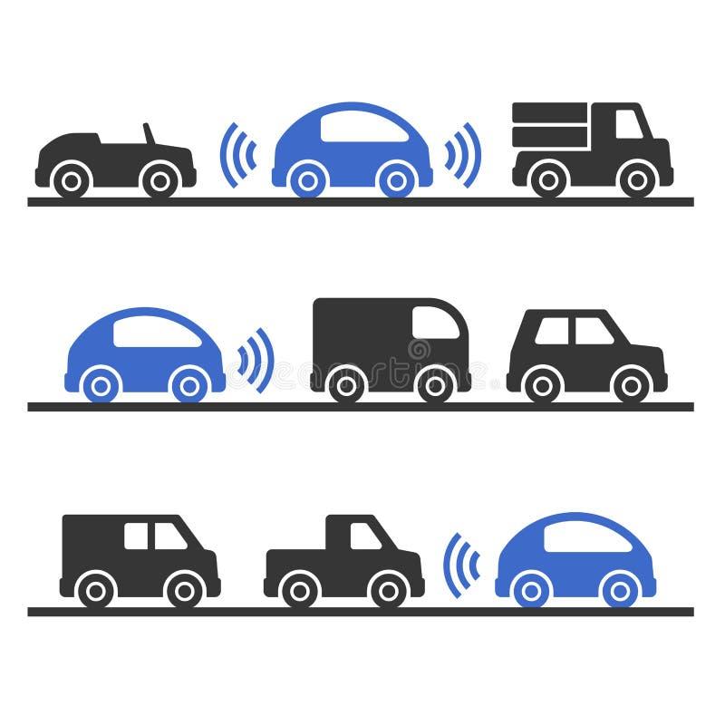 Selbst, der intelligentes Auto auf dem Straßen-Satz fährt Vektor lizenzfreie abbildung