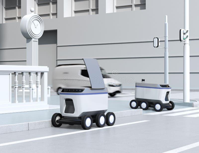 Selbst-Fahren von den Lieferungsrobotern, welche die Straße weitergehen vektor abbildung