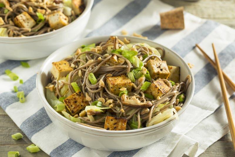 Selbst gemachte asiatische Tofu Soba-Nudel-Schüssel stockfotos