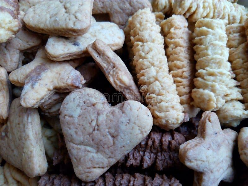 Selbst gemachte gebackene Keks- und Schokoladenplätzchennahaufnahme lizenzfreie stockfotografie