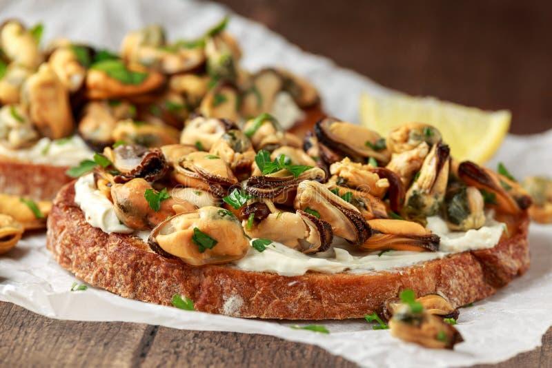 Selbst gemachte Miesmuscheln auf gegrilltem bruschetta, Toast mit Weichk?se und Kr?utern lizenzfreies stockfoto