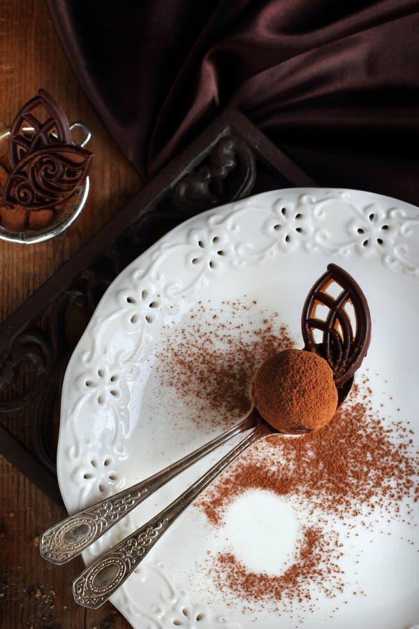 Selbst gemachte Schokoladentrüffeln in zwei Löffeln lizenzfreies stockfoto