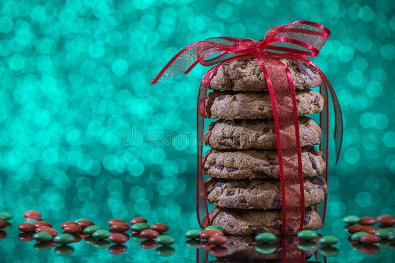 Selbst gemachte Weihnachtsschokoladensplitterplätzchen stockfotos