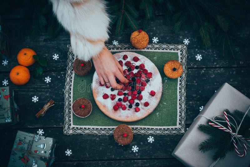 Selbst gemachte Weihnachtstorte stockfotos