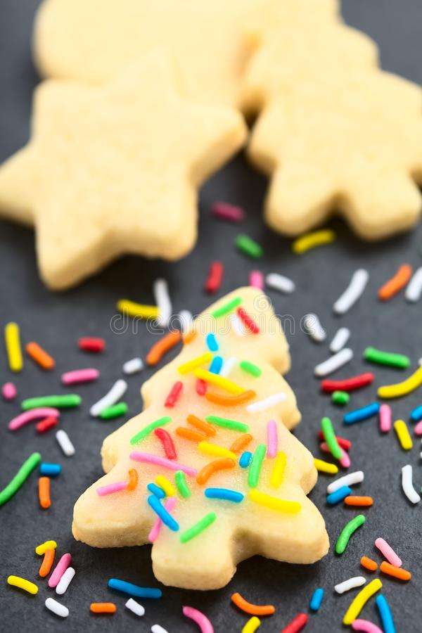 Selbst gemachter gebackener Sugar Cookie mit buntem besprüht stockbild