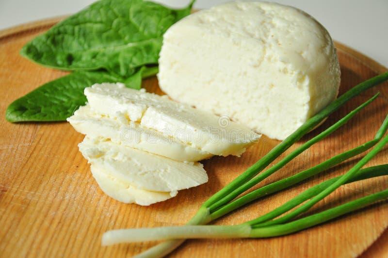 Selbst gemachter geschnittener Adyghe-Käse mit den Grüns, die auf hölzernem Brett liegen lizenzfreies stockfoto