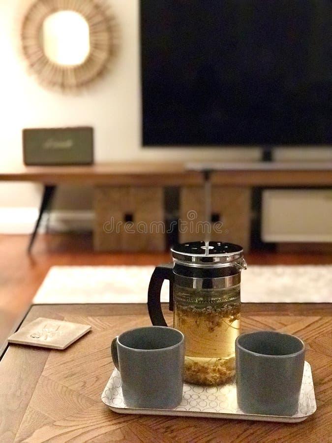 Selbst gemachter grüner Tee mit französischer Presse zu Hause lizenzfreie stockbilder