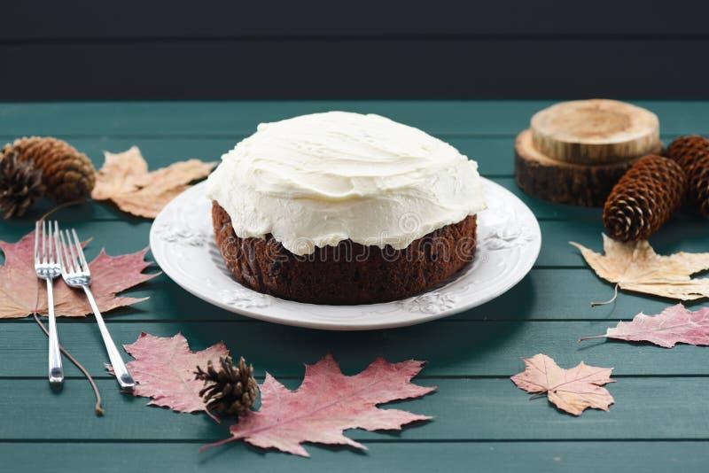 Selbst gemachter Käse des Schokoladenfrucht-Kuchens mit Sahne verziert mit trockenen Blättern und Kegeln auf Dunkelheit lizenzfreie stockbilder