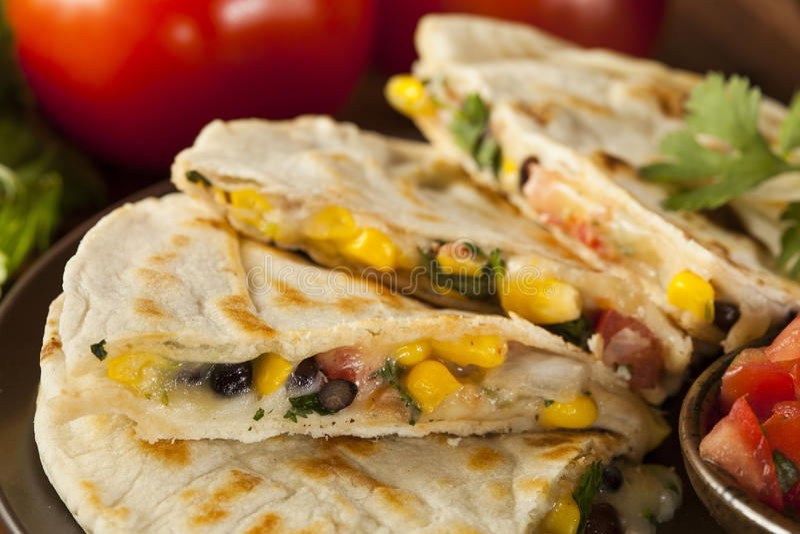 Selbst gemachter Käse und Bean Quesadilla lizenzfreie stockbilder