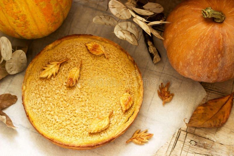 Selbst gemachter Kuchen des traditionellen amerikanischen Kürbises, verziert mit Plätzchen auf einem Hintergrund von Kürbisen und stockfotografie