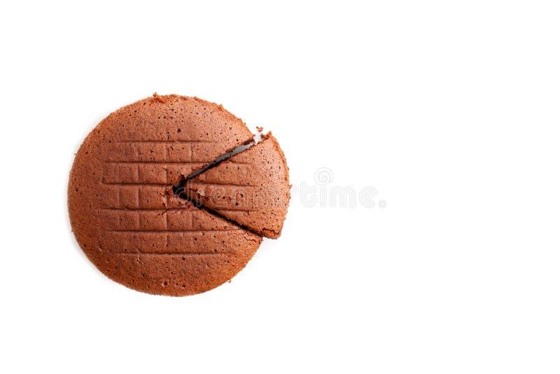 Selbst gemachter Schokoladenkuchen auf weißem Isolathintergrund mit Kopien-SP stockbild