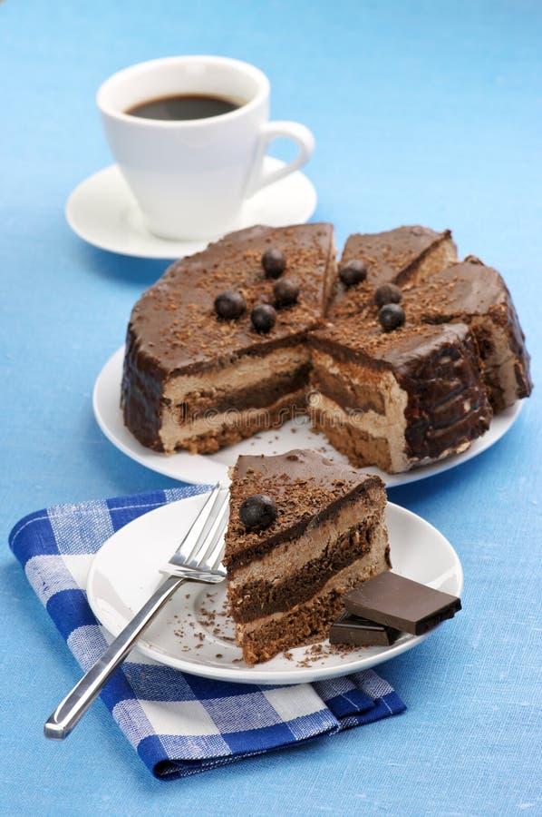 Selbst gemachter Schokoladenkuchen und -kaffee stockbilder