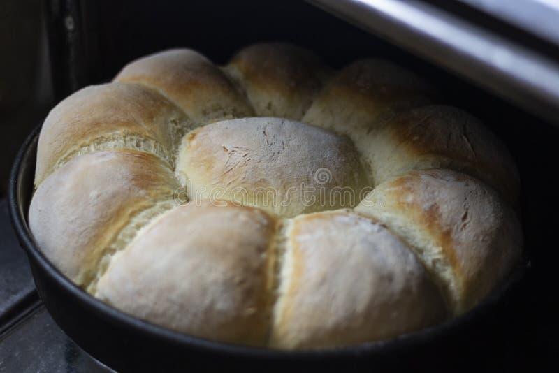 Selbst gemachtes Brot in einem Backformrecht aus dem Ofen heraus stockfotos