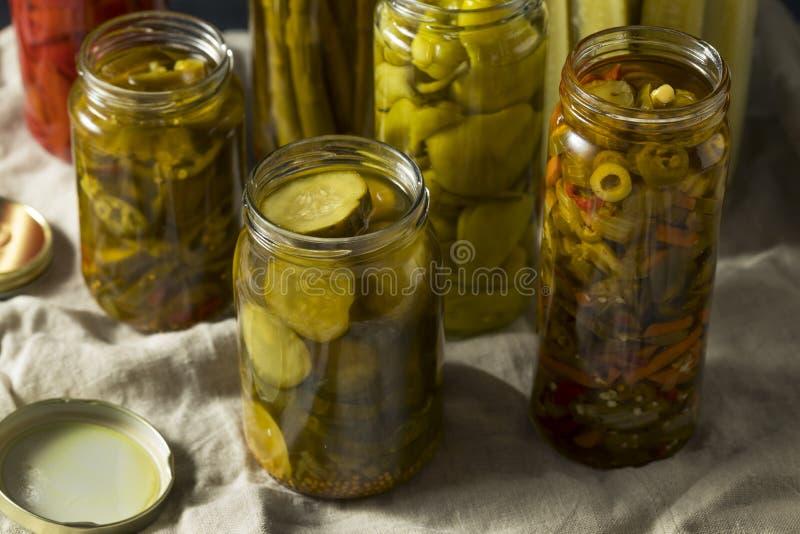 Selbst gemachtes in Essig eingelegtes Gemüse in den Gläsern lizenzfreie stockbilder