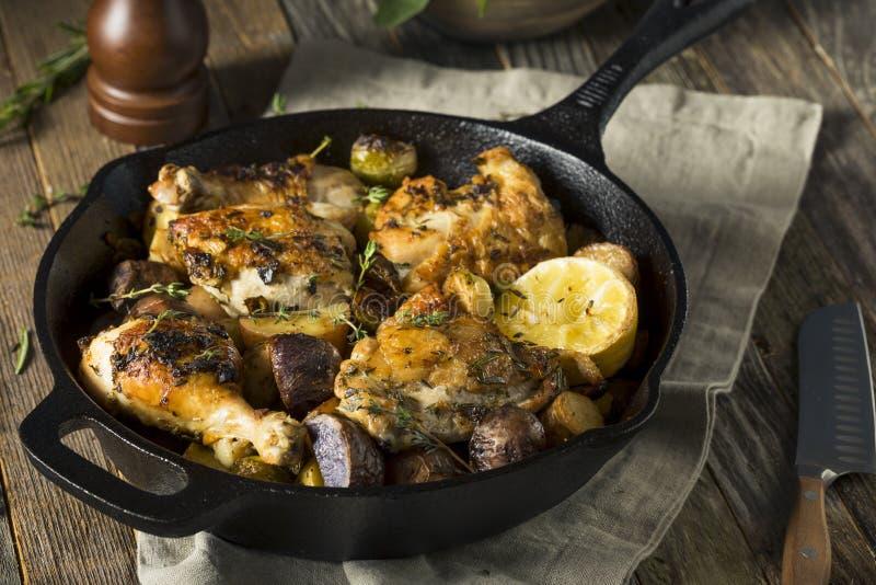Selbst gemachtes gebackenes Huhn in einer Bratpfanne lizenzfreies stockfoto