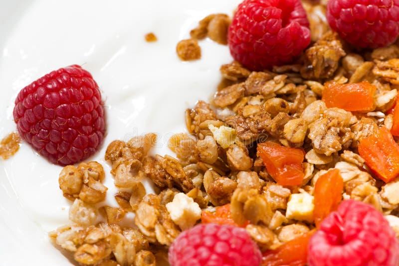 selbst gemachtes Granola mit getrockneten Aprikosen, Himbeeren und Jogurt stockbild