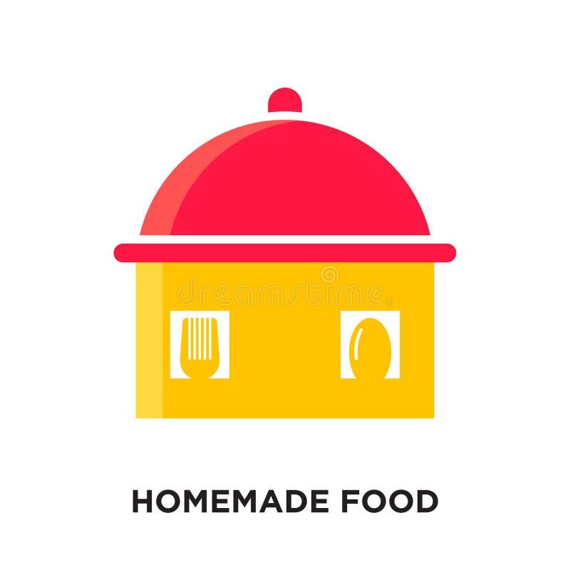 selbst gemachtes Nahrungsmittellogo lokalisiert auf weißem Hintergrund für Ihr Netz, MO stock abbildung