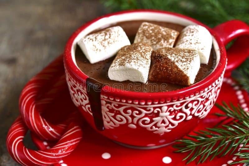 Selbst gemachtes würziges Weihnachtsheiße Schokolade in einer roten Schale stockbilder