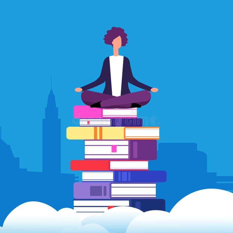 Selbstausbildungs-Vektorkonzept Frau, die in Lotussitz auf den Büchern über den Wolken sitzt lizenzfreie abbildung