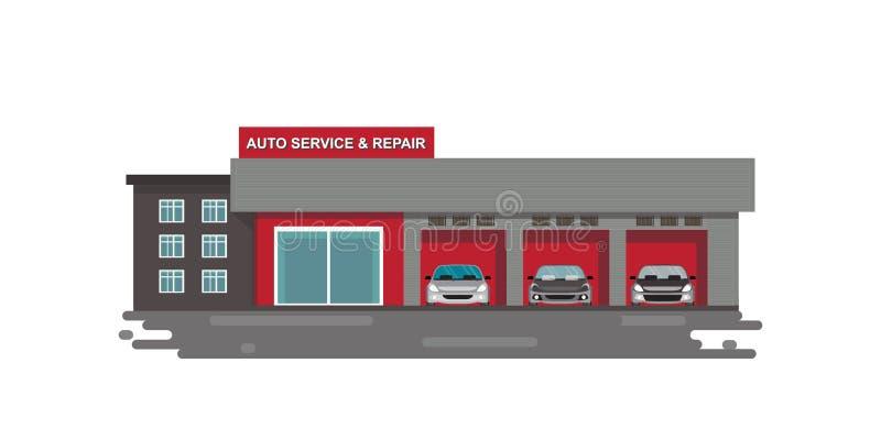 Selbstautoservice und Reparaturmitte oder -garage mit den Autos lokalisiert auf Weiß vektor abbildung