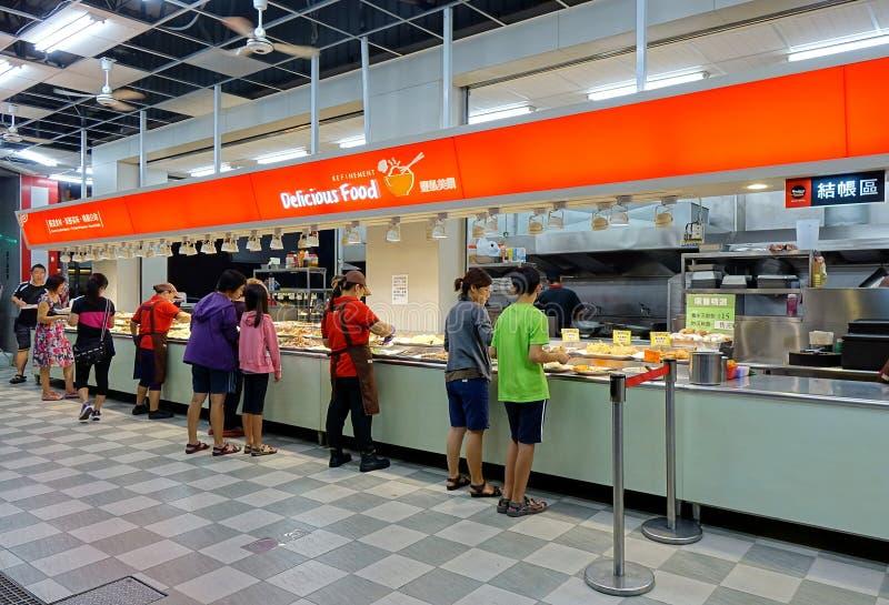 Selbstbedienungsrestaurant auf einem Bürgersteig in Kaohsiungs-Stadt lizenzfreie stockfotografie