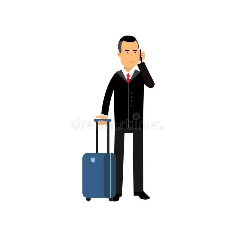 Selbstbewusster Geschäftsmann der Zeichentrickfilm-Figur im stilvollen schwarzen Anzug, der am Flughafen mit Reisetasche auf Räde lizenzfreie abbildung