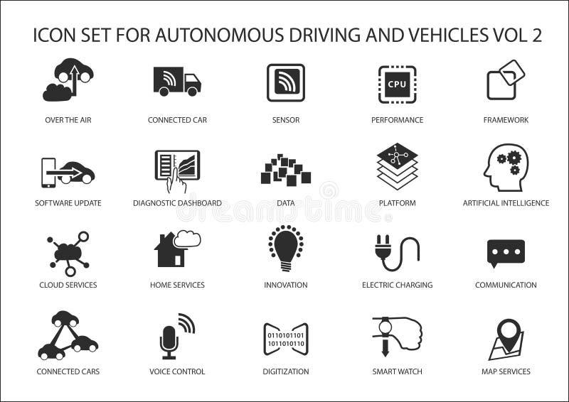 Selbstfahren und Ikonen der autonomen Fahrzeuge vektor abbildung